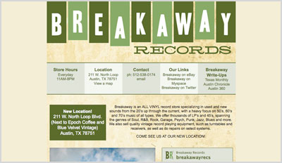 A screenshot of Breakaway Records